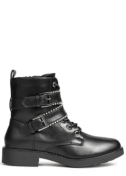Hailys Damen Schuh Stiefelette Kunstleder Nieten schwarz