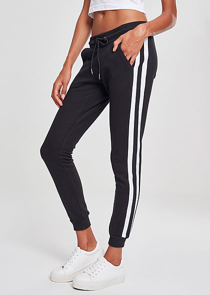 Urban Classics Women College Sweatpants black/white - Art.-Nr.: 19010018