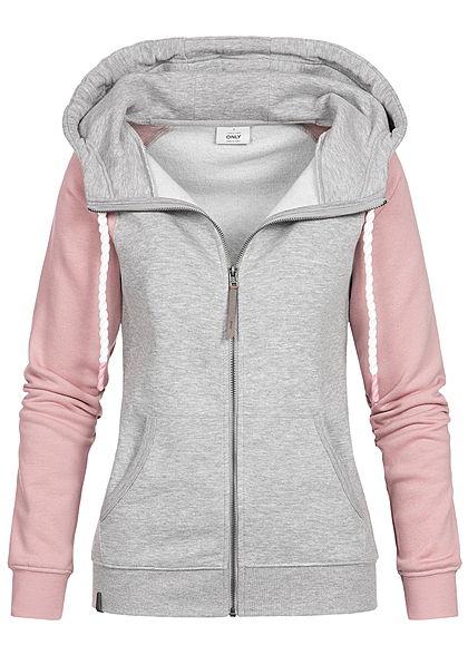 XS · S · M · ONLY Damen Zip Hoodie Kapuze 2-Tone 2 Taschen hell grau  melange rosa 2f44cd6d6a
