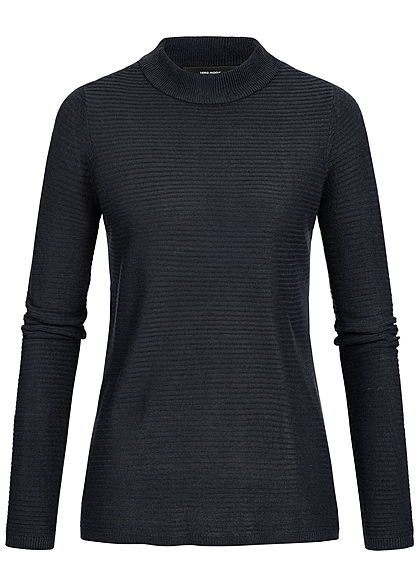 Vero Moda Damen High-Neck Sweater Struktur Muster NOOS night sky blau