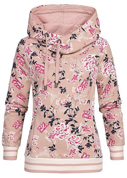 c70fefb2d4 ONLY Damen Hoodie Kapuze Blumen Muster Kängurutasche misty rosa pink weiss