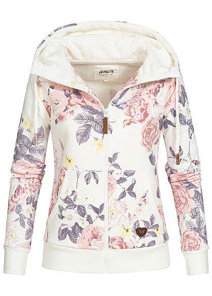 S · M · L · Hailys Damen Zip Hoodie Kapuze Blumen Muster 2 Taschen off weiss  hell grau rosa e3ac912857
