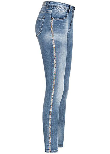dbc755da913a XS · S · M · L · XL · Hailys Damen Skinny Jeans Hose Strasssteine 4-Pockets  medium blau denim
