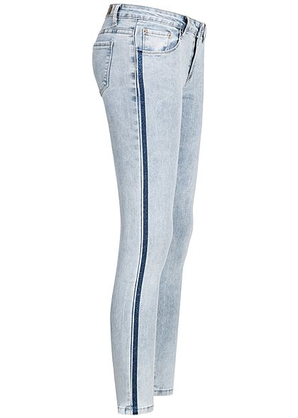 68b9d33bb9e3 XS · S · M · L · XXL · Hailys Damen Skinny Jeans Hose 5-Pocktes  Glitzerstreifen washed blau denim