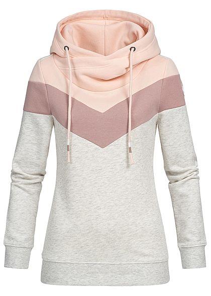 50523237c4 ONLY Damen Hoodie Kapuze Colorblock oatmeal beige rosa lila