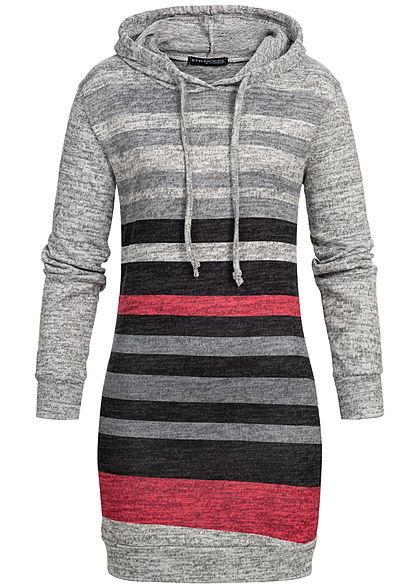 cedf23dffd Styleboom Fashion Damen Striped Multicolor Longform Hoodie grau schwarz rot