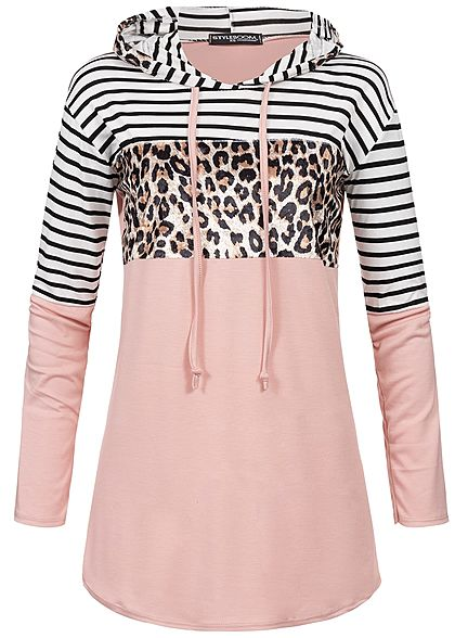 98a77ca231 Styleboom Fashion Damen Striped Leo Hoodie rose