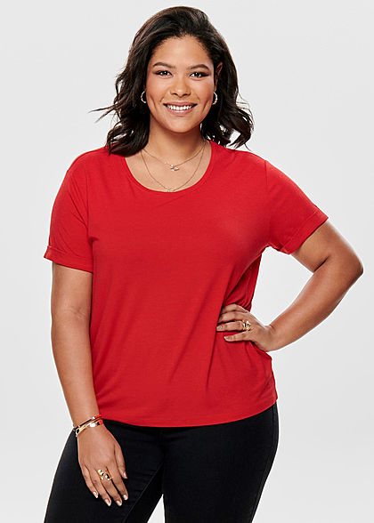 ONLY Carmakoma Damen Curvy T-Shirt high risk rot - Art.-Nr.: 19031161