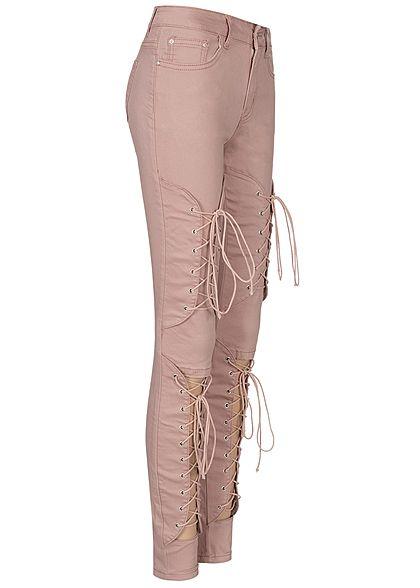 Seventyseven Lifestyle Damen Cut Out Lace Up Skinny Jeans 5-Pocktes rosa denim