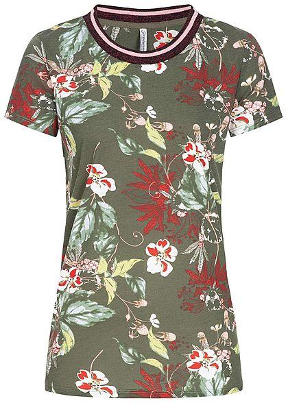 brand new 9226a 8165b Seventyseven Lifestyle Damen T-Shirt Blumen Muster Glitzer khaki rot weiss
