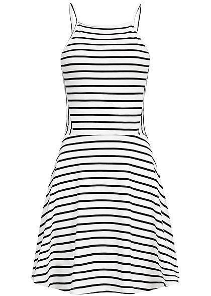 8970512eb59 ONLY Damen Striped Strap Dress cloud dancer weiss schwarz