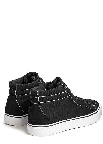 Urban Classics Men Shoe High Canvas Sneaker Suede Look black white