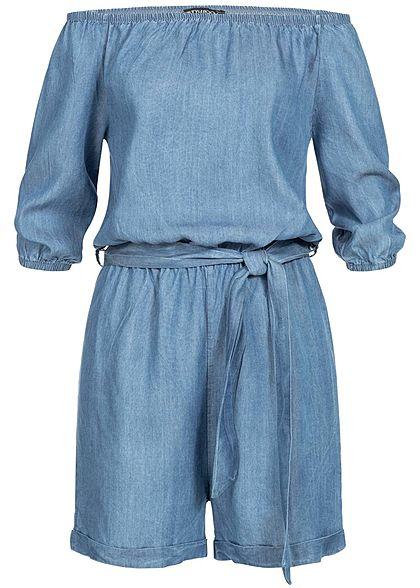 fc0ade0a35dffa Styleboom Fashion Damen Denim Off-Shoulder Jumpsuit Belt hell blau