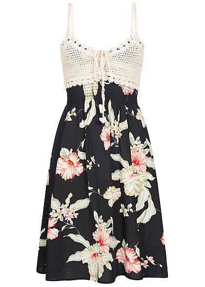 27e61dd7b67 Seventyseven Lifestyle Damen Mini Crochet Dress Floral Print Bow schwarz  beige