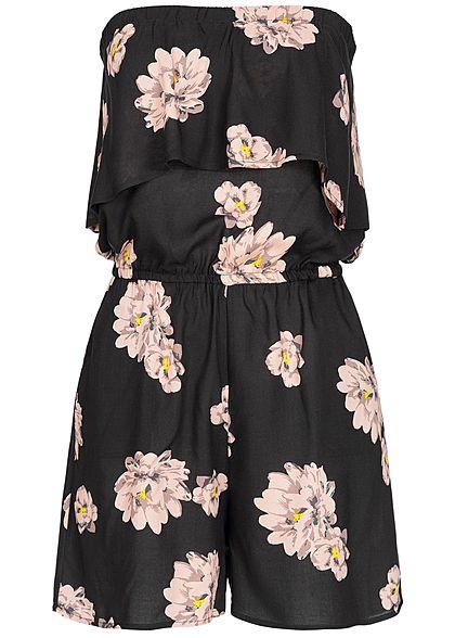 9cad24e5b9451d Seventyseven Lifestyle Damen Bandeau Jumpsuit Volant Front Flower Print  schwarz rosa