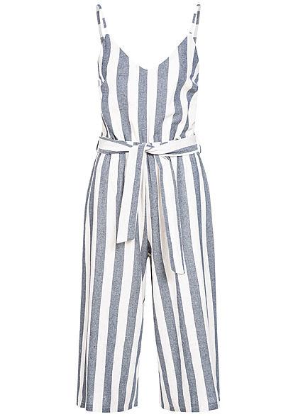 Suche nach Beamten bester Platz echt kaufen Hailys Damen Striped Belt V-Neck Jumpsuit blau weiss