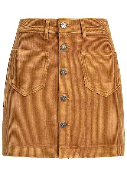 ONLY Damen NOOS Cord Rock 2-Pockets Knopfleiste rustic braun - Art.-Nr.: 20083827