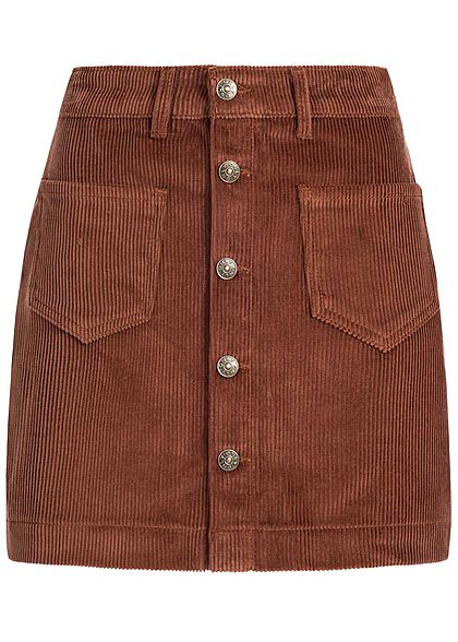 ONLY Damen NOOS Cord Rock 2-Pockets Knopfleiste coffee bean braun - Art.-Nr.: 20083825