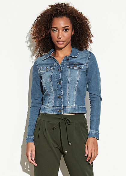 Noisy May Damen NOOS Jeans Jacke 2 Brusttaschen medium blau denim