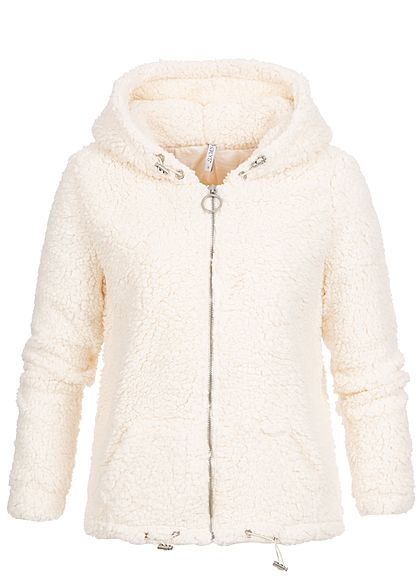 Hailys Damen Teddyfell Zip Hoodie Kapuze 2-Pockets off weiss - Art.-Nr.: 19093963