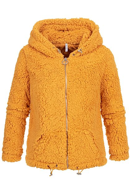 Hailys Damen Teddyfell Zip Hoodie Kapuze 2-Pockets curry gelb - Art.-Nr.: 19093964