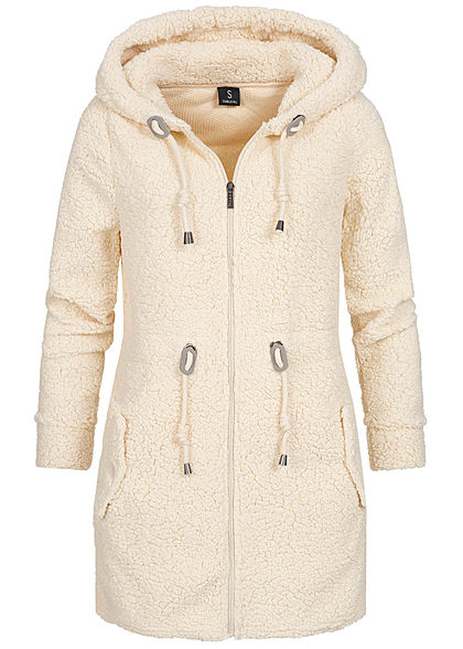 Sublevel Damen Long Zip Fleece Hoodie Parka Kapuze 2-Pockets canvas beige - Art.-Nr.: 19104212