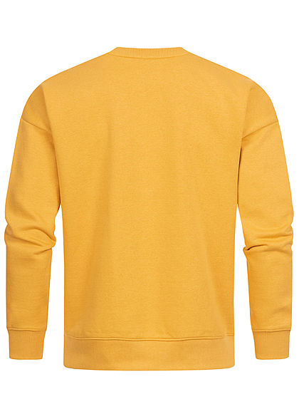 Stitch & Soul Herren Colorblock Sweater mango gelb blau weiss