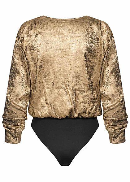 ONLY Damen 2-Tone V-Neck Body tiefer Ausschnitt Wickel-Optik gold schwarz