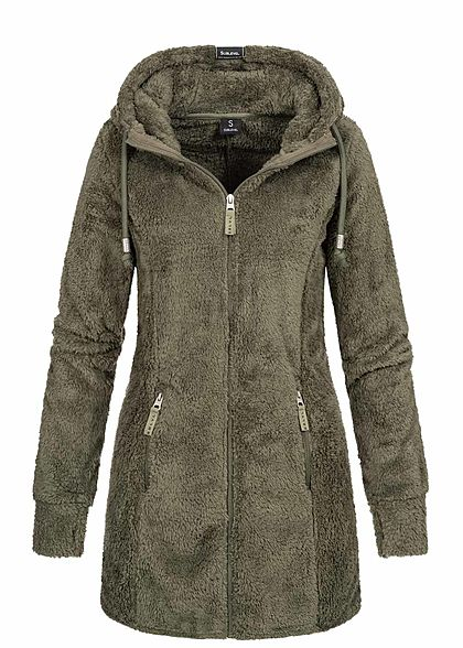 Sublevel Damen Long Plüsch Zip Hoodie Kapuze Jacke 2-Pockets ivy olive grün - Art.-Nr.: 19115237