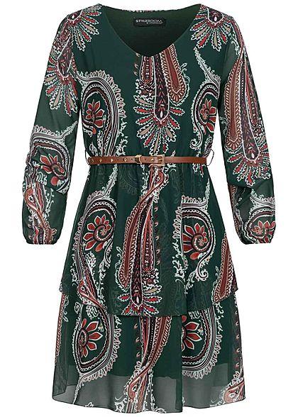 Styleboom Fashion Damen V-Neck Chiffon Kleid inkl. Gürtel ...