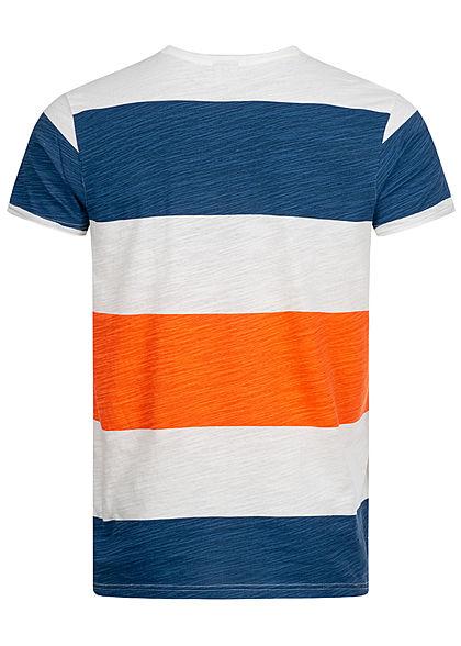 Sublevel Herren T-Shirt Colorblock Streifen Muster poppy orange blau weiss