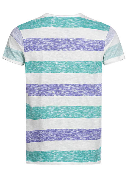 Sublevel Herren Colorblock T-Shirt Streifen Muster Inside Print mint grün lila weiss