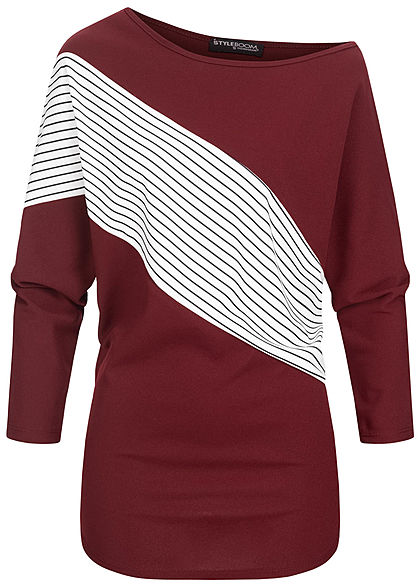 Styleboom Fashion Damen One-Shoulder Fledermausarm Shirt Streifen Muster bordeaux