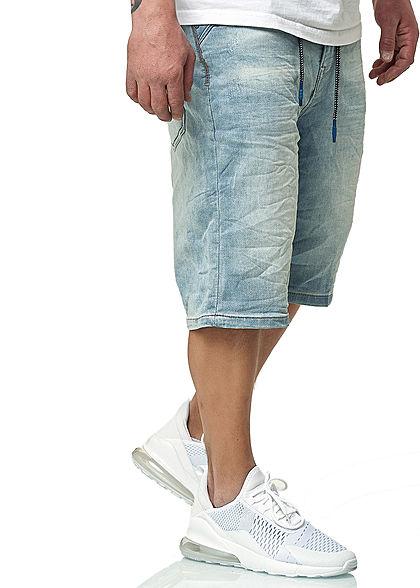 Sublevel Herren Bermuda Jeans Shorts 5-Pockets Kordel hell blau denim