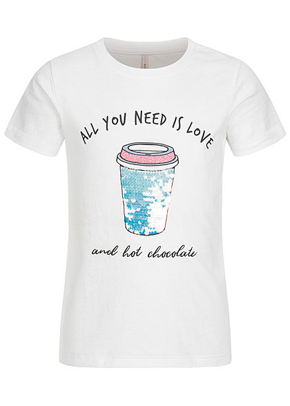 ONLY Kids Mädchen T-Shirt Wendepailletten Love is Print bright weiss - Art.-Nr.: 20030977