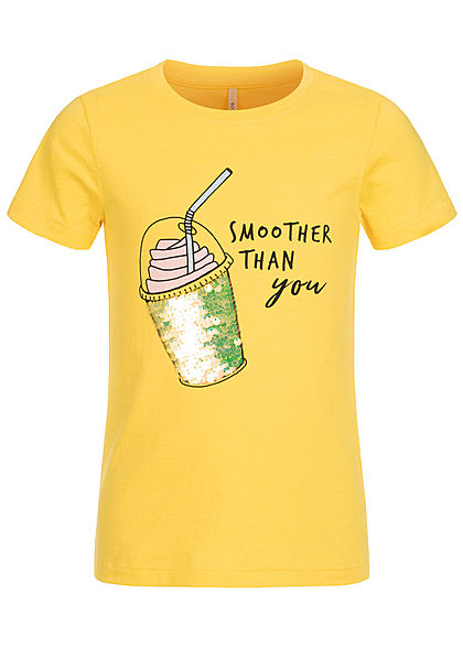 ONLY Kids Mädchen T-Shirt Wendepailletten Smoothie Print primerose gelb - Art.-Nr.: 20030978