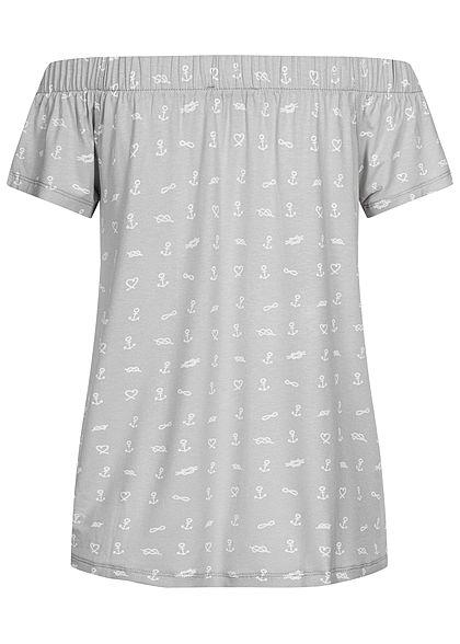 Sublevel Damen Off-Shoulder Shirt Anker & Herz Print quiet grau