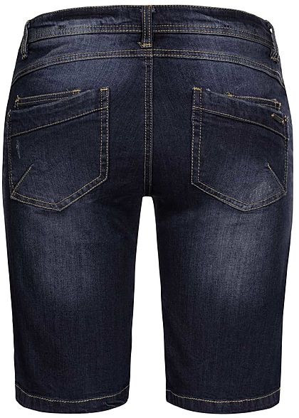 Sublevel Damen Bermuda Jeans Shorts 3er Knopfleiste 5-Pockets dunkel blau denim