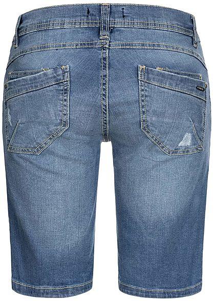 Sublevel Damen Bermuda Jeans Shorts 5-Pockets Crash Optik medium blau denim