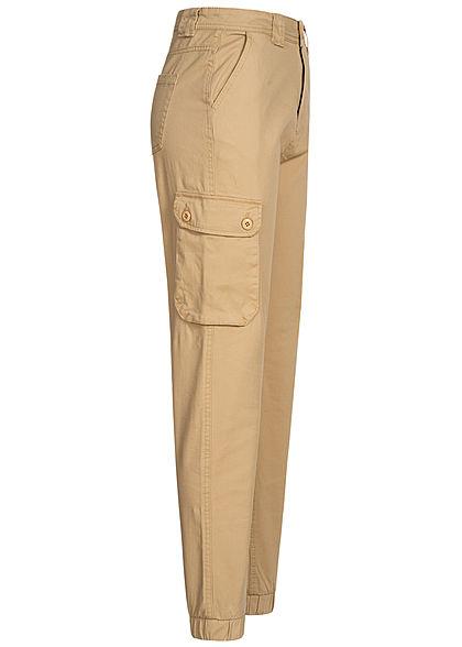 Sublevel Damen Cargo Jeans Hose 6-Pockets grain beige