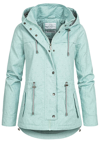 Sublevel Damen Übergangs Parka Jacke Kapuze Dreiecks Muster 2-Pockets misty mint grün