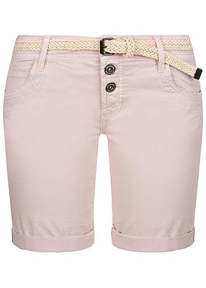 Fresh Made Damen Chino Bermuda-Shorts mit Flecht-G/ürtel