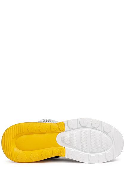 Seventyseven Lifestyle Herren Schuh Colorblock Sneaker zum Schnüren gelb schwarz weiss