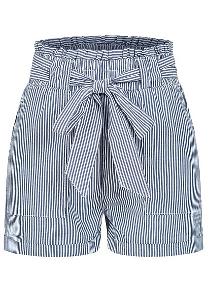 ONLY Damen NOOS Paperbag Shorts inkl. Bindegürtel Streifen 2-Pockets medium blau - Art.-Nr.: 20042049