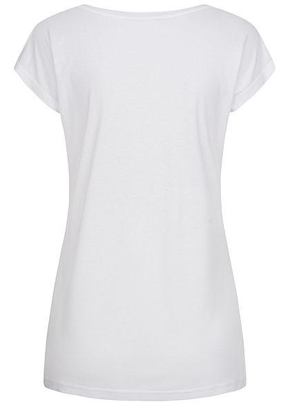 Sublevel Damen T-Shirt Pailletten Bonjour weiss pink