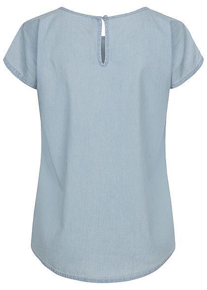 Sublevel Damen Oversized Denim Blusen Shirt Brusttasche hell blau denim