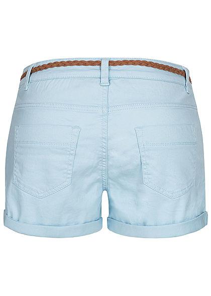 Sublevel Damen kurze Shorts 4-Pockets inkl. Flechtgürtel aqua hell blau braun