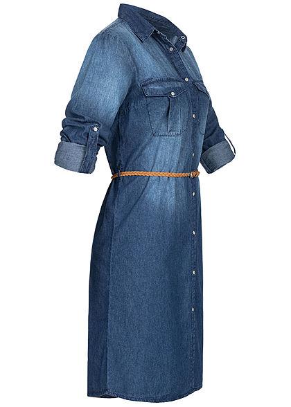 Sublevel Damen Turn-Up Midi Denim Kleid inkl. Flechtgürtel Knopfleiste medium blau
