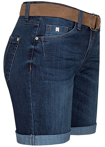 Sublevel Damen Bermuda Jeans Shorts 5-Pockets inkl. Velour Leder Gürtel dunkel blau denim