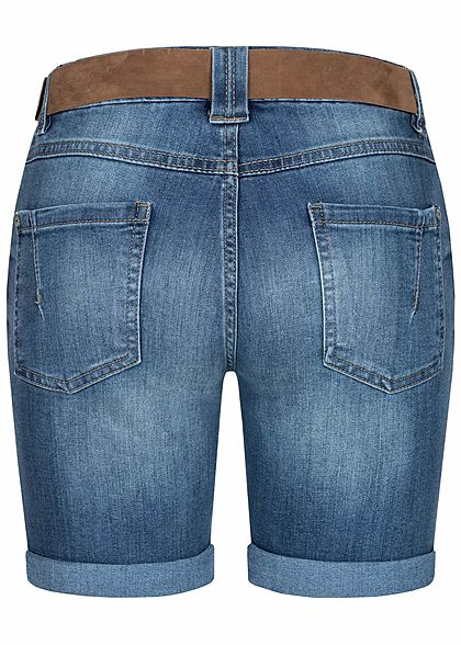 Sublevel Damen Bermuda Jeans Shorts 5-Pockets inkl. Velour Leder Gürtel medium blau denim